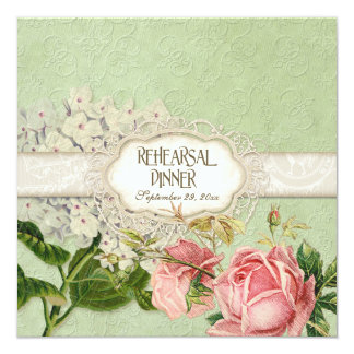 Modern Vintage Lace Tea Stained Hydrangea n Roses Custom Announcement
