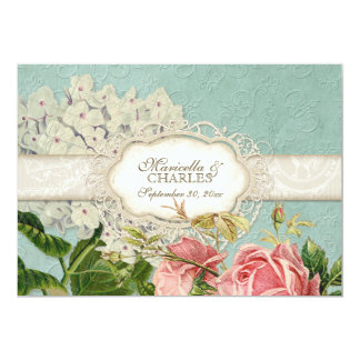 Modern Vintage Lace Tea Stained Hydrangea n Roses Custom Invite