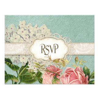 Modern Vintage Lace Tea Stained Hydrangea n Roses Announcement