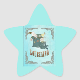 Modern Vintage Louisiana State Map – Aqua Blue Star Stickers