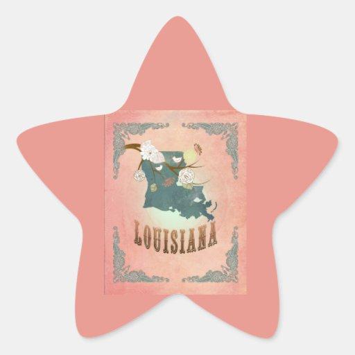 Modern Vintage Louisiana State Map- Pastel Peach Sticker