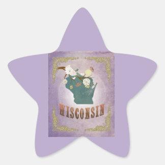 Modern Vintage Maine State Map- Sweet Lavender Star Sticker