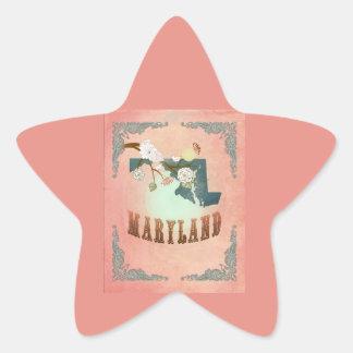 Modern Vintage Maryland State Map- Pastel Peach Sticker