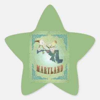 Modern Vintage Maryland State Map – Sage Green Star Sticker