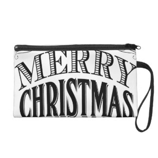 modern vintage Merry Christmas Wristlet Clutch