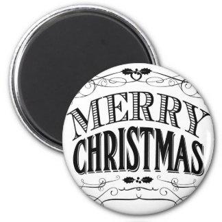 modern vintage Merry Christmas Fridge Magnets
