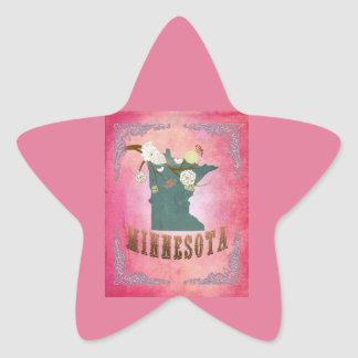 Modern Vintage Minnesota State Map- Candy Pink Star Sticker