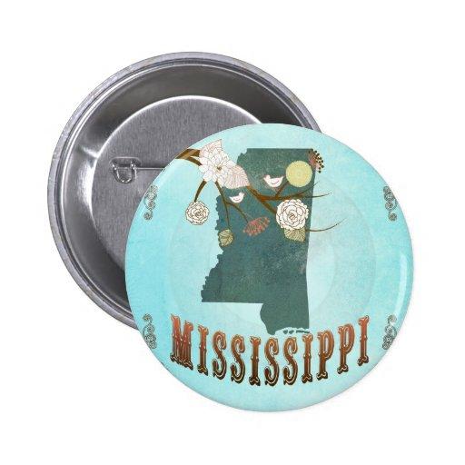 Modern Vintage Mississippi State Map – Aqua Blue Buttons