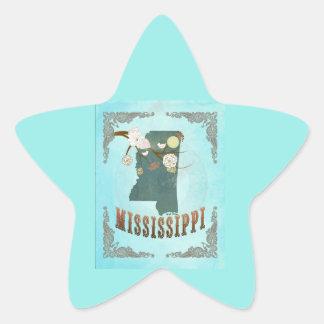 Modern Vintage Mississippi State Map – Aqua Blue Star Sticker