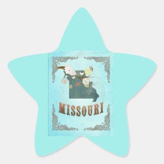 Modern Vintage Missouri State Map – Aqua Blue Star Stickers