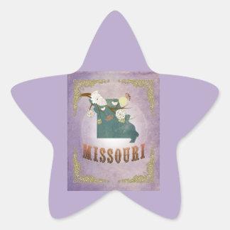 Modern Vintage Missouri State Map- Sweet Lavender Star Sticker