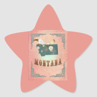 Modern Vintage Montana State Map- Pastel Peach Star Sticker