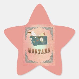 Modern Vintage Montana State Map- Pastel Peach Sticker