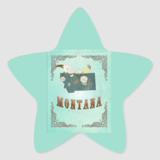 Modern Vintage Montana State Map – Turquoise Blue Star Sticker