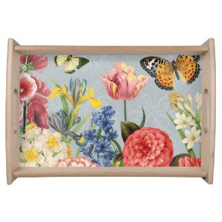 modern vintage multl botanical flowers serving tray