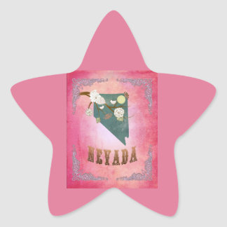 Modern Vintage Nevada State Map- Candy Pink Star Stickers