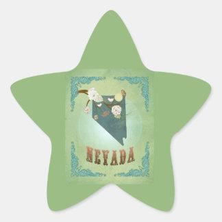 Modern Vintage Nevada State Map – Sage Green Star Sticker