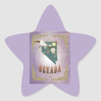 Modern Vintage Nevada State Map- Sweet Lavender Star Sticker
