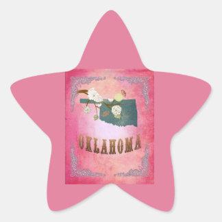 Modern Vintage Oklahoma State Map- Candy Pink Sticker