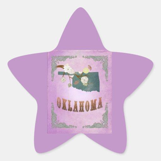 Modern Vintage Oklahoma State Map-Grape Purple Star Sticker