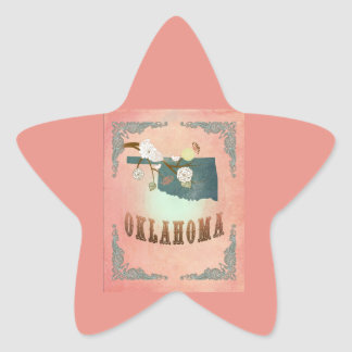 Modern Vintage Oklahoma State Map- Pastel Peach Star Sticker