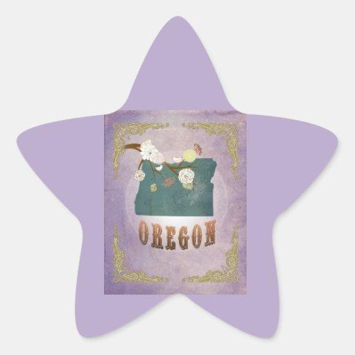 Modern Vintage Oregon State Map- Sweet Lavender Star Sticker