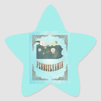 Modern Vintage Pennsylvania State Map – Aqua Blue Star Sticker