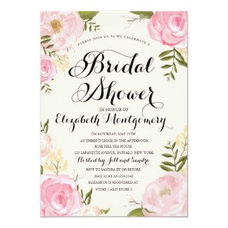 Modern Vintage Pink Floral Bridal Shower 13 Cm X 18 Cm Invitation Card
