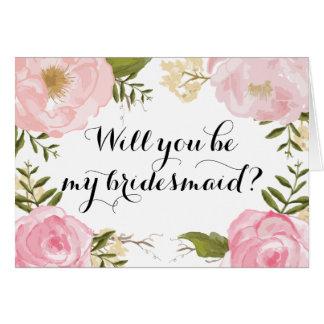 Modern Vintage Pink Floral Bridesmaid Request Greeting Card