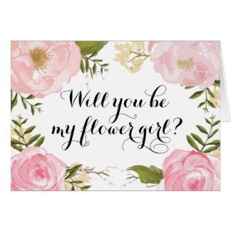 Modern Vintage Pink Floral Floral Girl Request Card