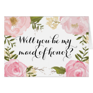 Modern Vintage Pink Floral Maid of Honor Request Card