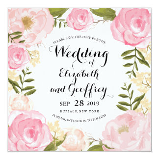 Modern Vintage Pink Floral Save the Date Card