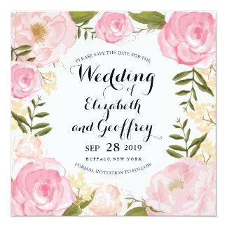 Modern Vintage Pink Floral Save the Date 13 Cm X 13 Cm Square Invitation Card