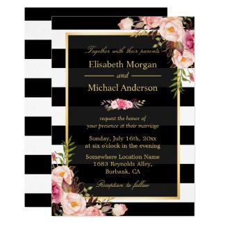 Modern Vintage Pink Floral Stripes Formal Wedding 13 Cm X 18 Cm Invitation Card