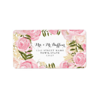 Modern Vintage Pink Floral Wedding Address Label