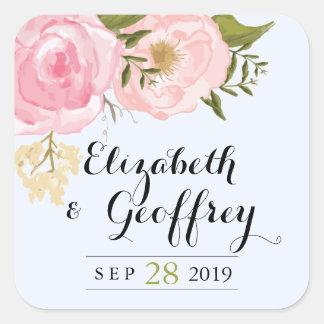 Modern Vintage Pink Floral Wedding Custom Favor Square Sticker