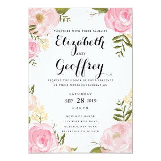 Modern Vintage Pink Floral Wedding Invitation