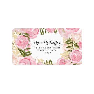 Modern Vintage Pink Floral Wedding Label
