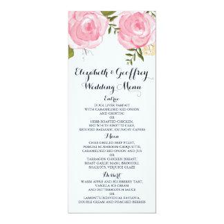 Modern Vintage Pink Floral Wedding Menu 10 Cm X 24 Cm Invitation Card