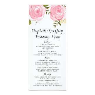 Modern Vintage Pink Floral Wedding Menu Card