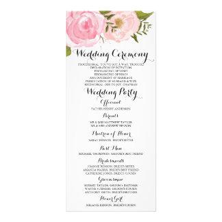 Modern Vintage Pink Floral Wedding Program Card
