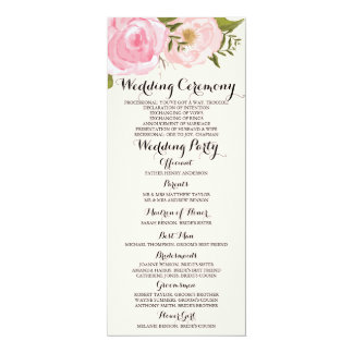 Modern Vintage Pink Floral Wedding Program Card 10 Cm X 24 Cm Invitation Card