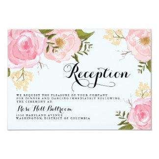 Modern Vintage Pink Floral Wedding Reception Card 9 Cm X 13 Cm Invitation Card
