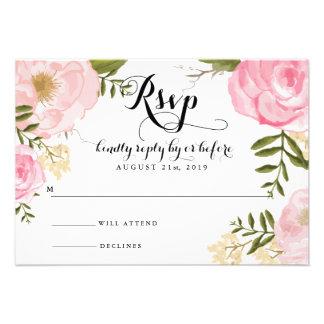 Modern Vintage Pink Floral Wedding RSVP Card