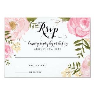 Modern Vintage Pink Floral Wedding RSVP Card 9 Cm X 13 Cm Invitation Card