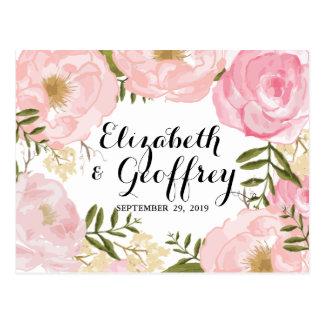 Modern Vintage Pink Floral Wedding RSVP Card Postcard