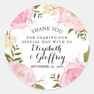 Modern Vintage Pink Floral Wedding Thank You Favor Round Sticker