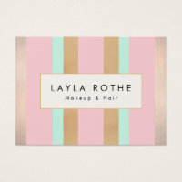Salon business cards business card printing zazzle standard sized business cards modern vintage pink rose gold stripes salon reheart Image collections