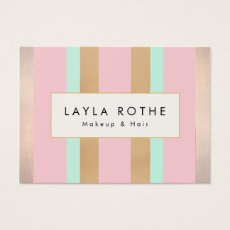 Modern Vintage Pink, Rose Gold Stripes Salon Business Card