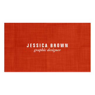 Modern Vintage Red Burlap Texture Business Card